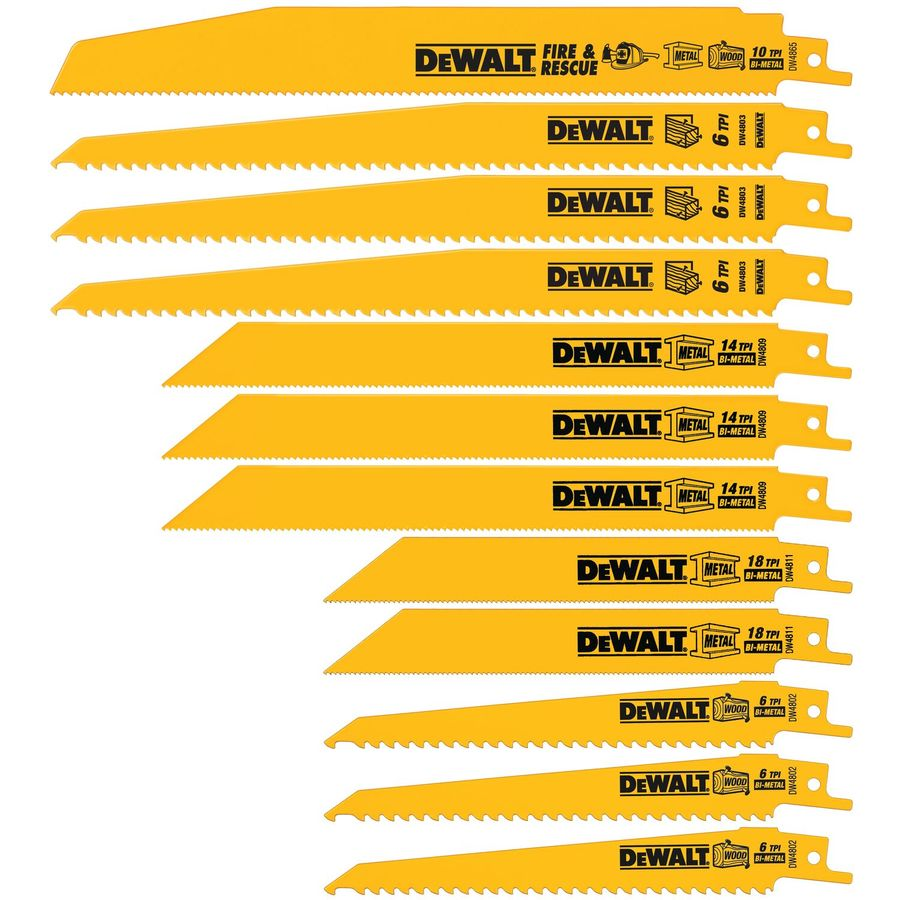 DEWALT 12-Pack Bi-Metal Reciprocating Saw Blade Set