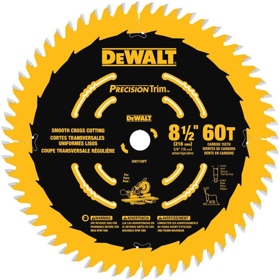 DEWALT Precision Trim 8-1/2-in 60-Tooth Standard Tooth Carbide Circular Saw Blade