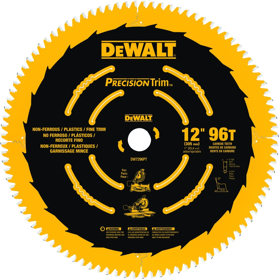 DEWALT Precision Trim 12-in 96-Tooth Segmented Carbide Circular Saw Blade
