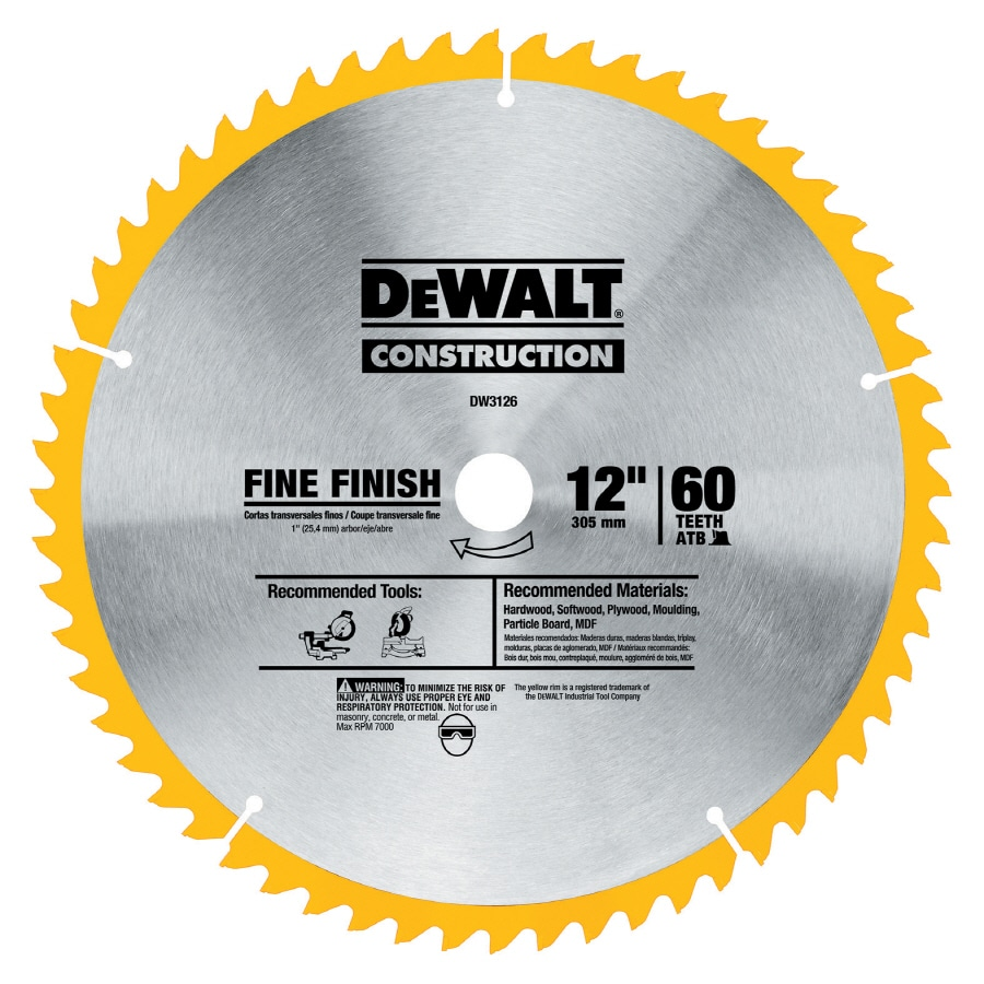 DEWALT 12-in 60-Tooth Standard High-Speed Steel Circular Saw Blade