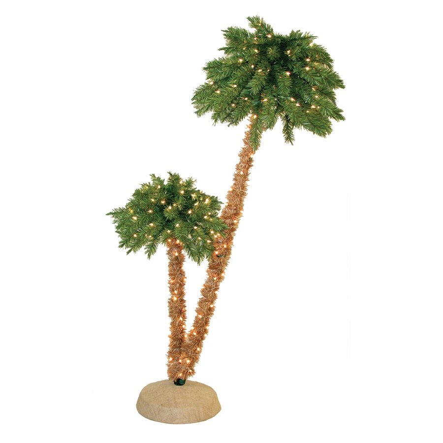 Shop 6-ft Pre-Lit Palm Slim Artificial Christmas Tree with White ...