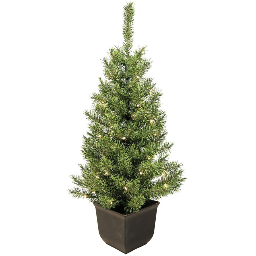 4 Ft White Christmas Trees Artificial: Shop 4-ft Pre-Lit Spruce Artificial Christmas Tree With