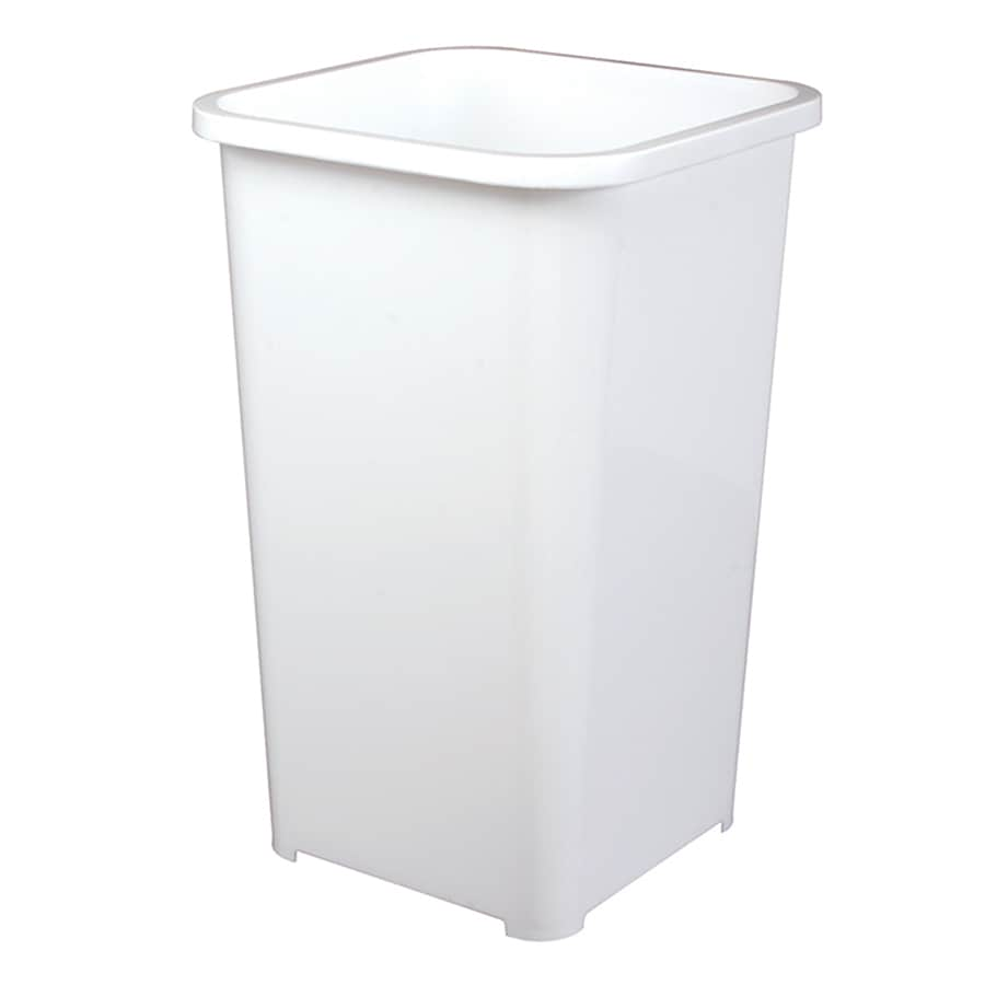 Knape & Vogt 6.75-Gallon White Plastic Trash Can