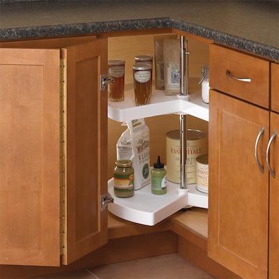 2-Tier Plastic Pie-Cut Cabinet Lazy Susan