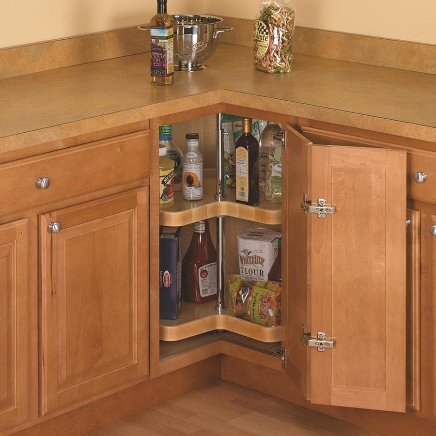 Knape & Vogt 2-Tier Wood Kidney Cabinet Lazy Susan