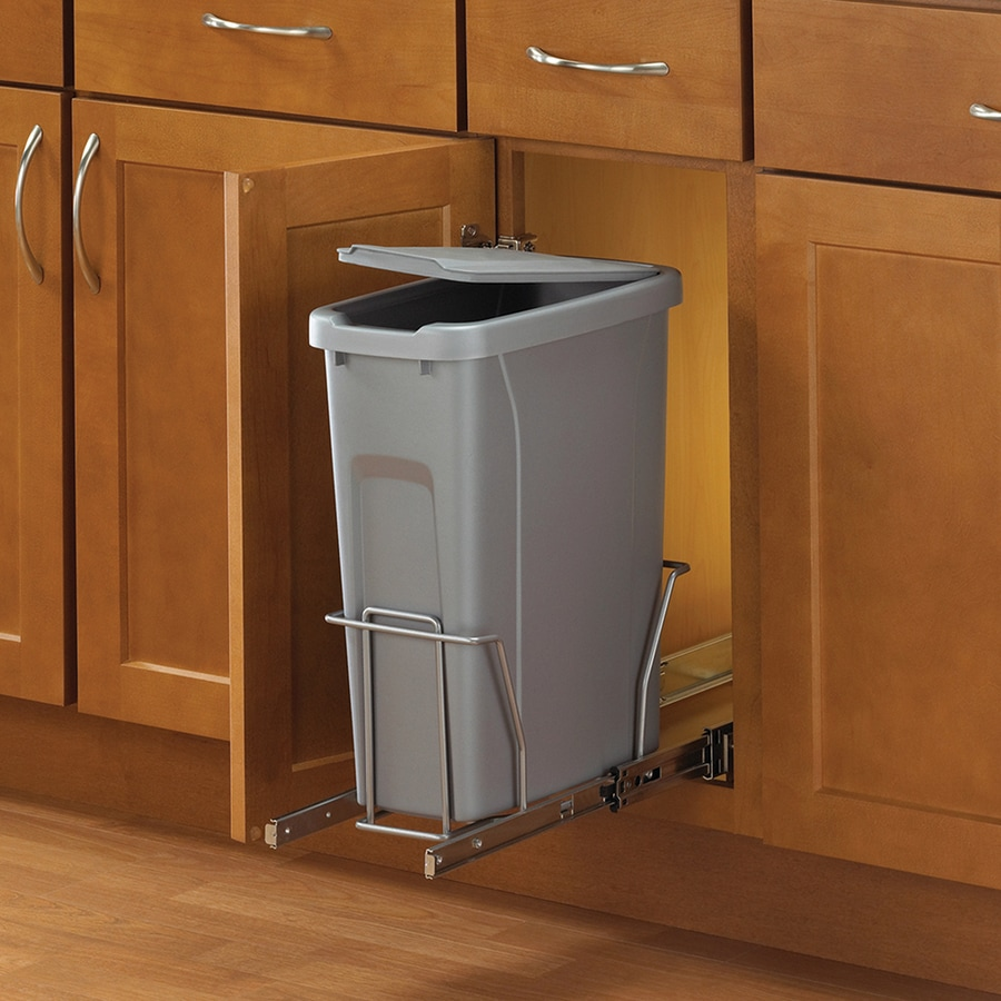 under cabinet wastebasket kitchen shop knape amp vogt 20 quart plastic pull out trash can at 6519