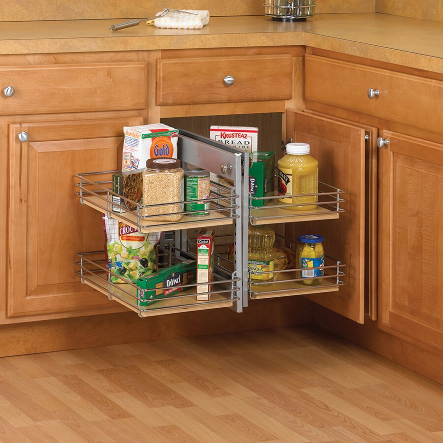 Knape & Vogt 26.18-in W x 19.75-in H Wood 4-Tier Pull Out Cabinet Basket