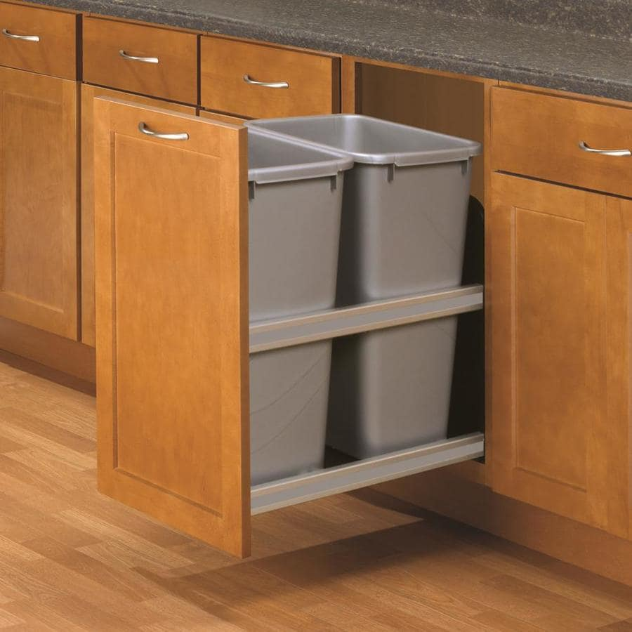 Kitchen Garbage Can Cabinet: Knape & Vogt 50-Quart Plastic Pull Out Trash Can At Lowes.com