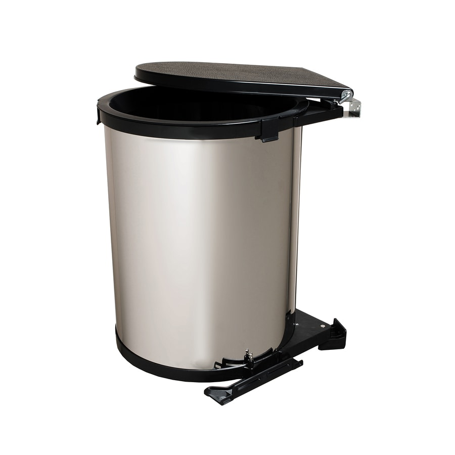 Knape & Vogt 8-Gallon Chrome-Look Plastic Trash Can with Lid