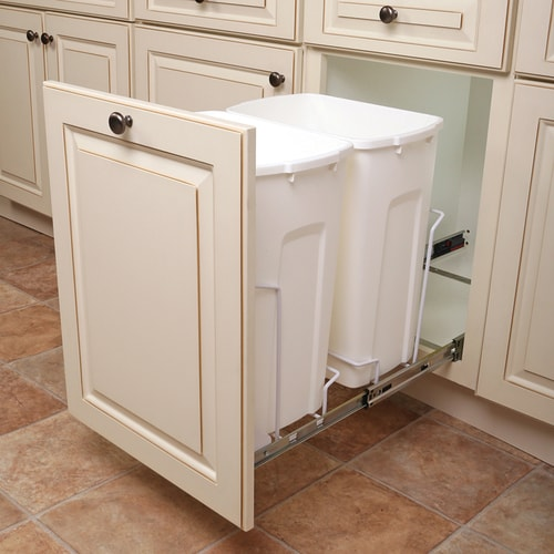 knape & vogt 35-quart plastic pull out trash can in the