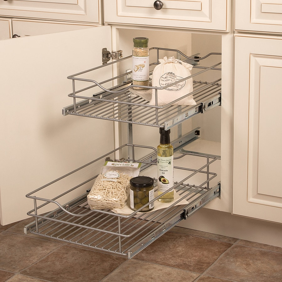 Knape & Vogt 14.56-in W x 19.25-in H Metal 2-Tier Pull Out Cabinet Basket