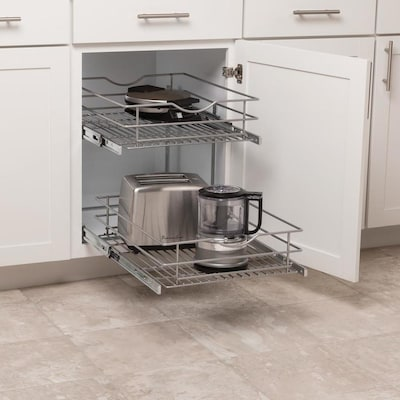 17.5-in W x 14.6875-in 2-Tier Pull Out Metal Soft Close Cabinet Organizer