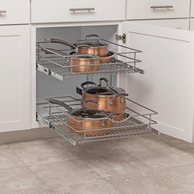 20.5-in W x 14.6875-in 2-Tier Pull Out Metal Soft Close Cabinet Organizer