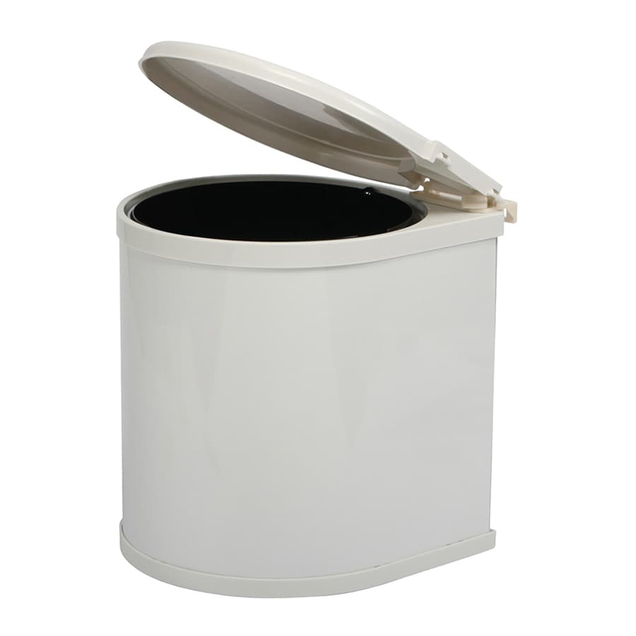 Knape & Vogt 3-Gallon White Plastic Trash Can with Lid