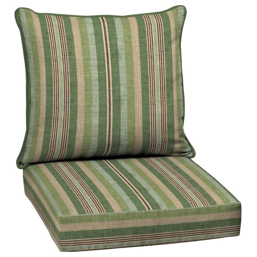 allen + roth Multi Eucalyptus Stripe Deep Seat Patio Chair Cushion for Deep Seat Chair