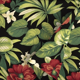 Garden Treasures Sanibel Tropical 54 In W Sanibel Black Tropical Tropical Outdoor  Fabric (By