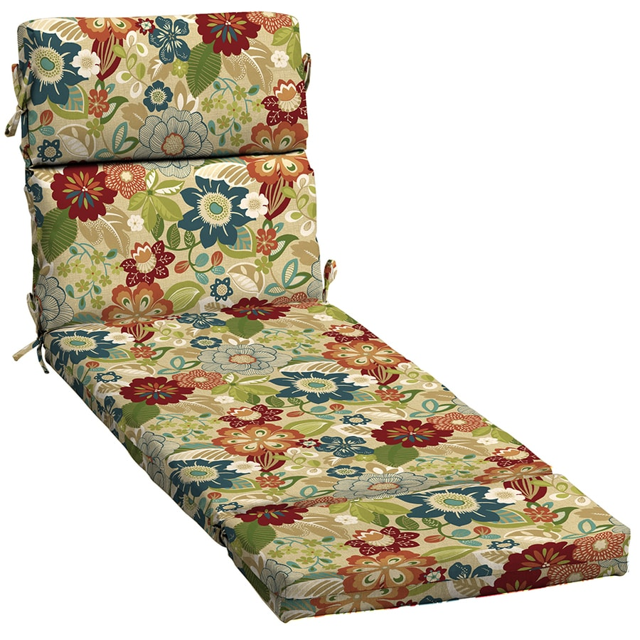 Shop garden treasures bloomery floral cushion for chaise - Garden treasures replacement cushions ...
