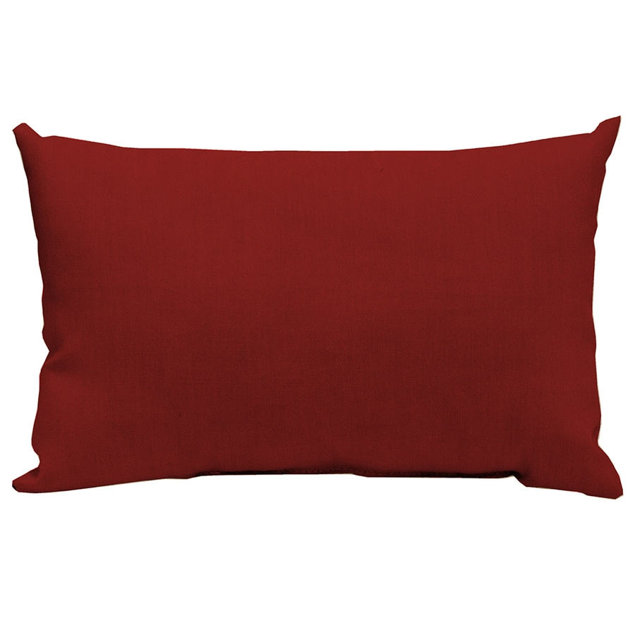 Garden Treasures Red Solid Rectangular Lumbar Outdoor Decorative Pillow