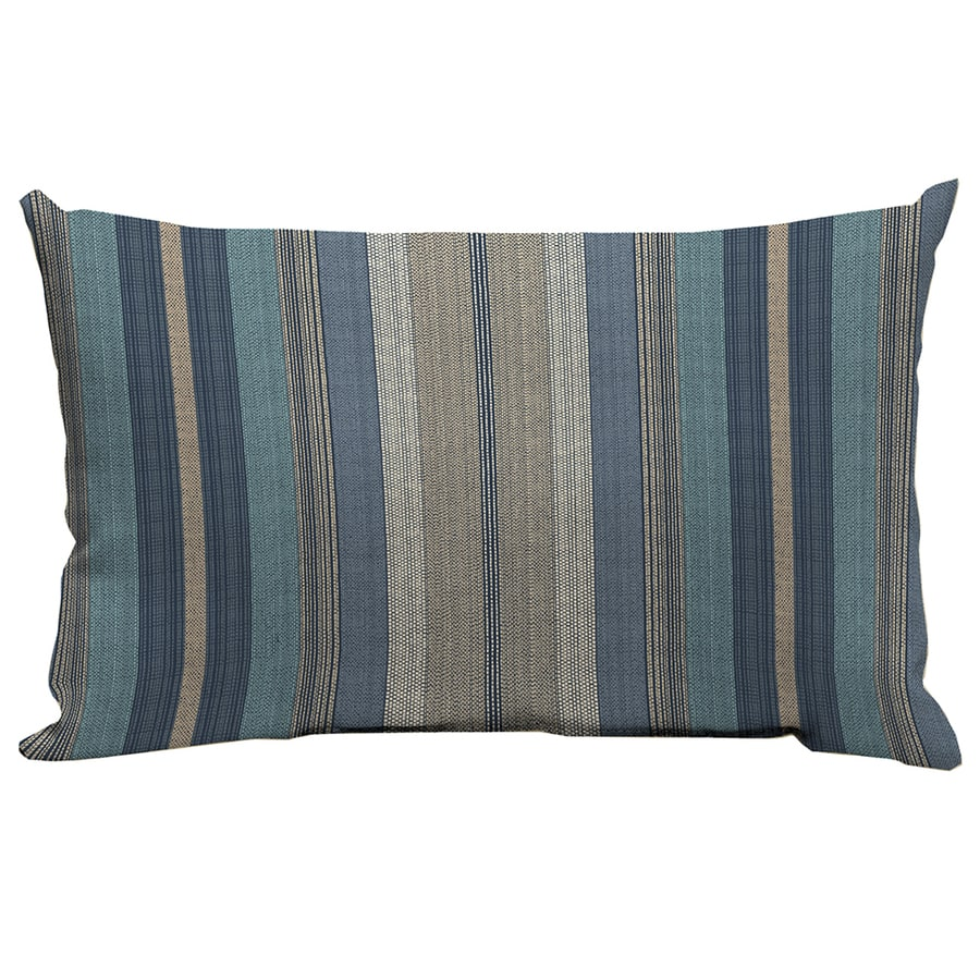 allen + roth Blue and Striped Rectangular Lumbar Pillow Outdoor Decorative Pillow