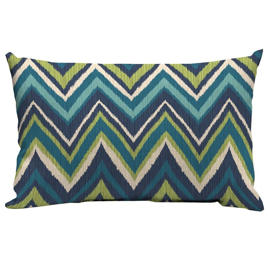 Garden Treasures Blue Flame Stitch and Geometric Rectangular Lumbar Pillow Outdoor Decorative Pillow
