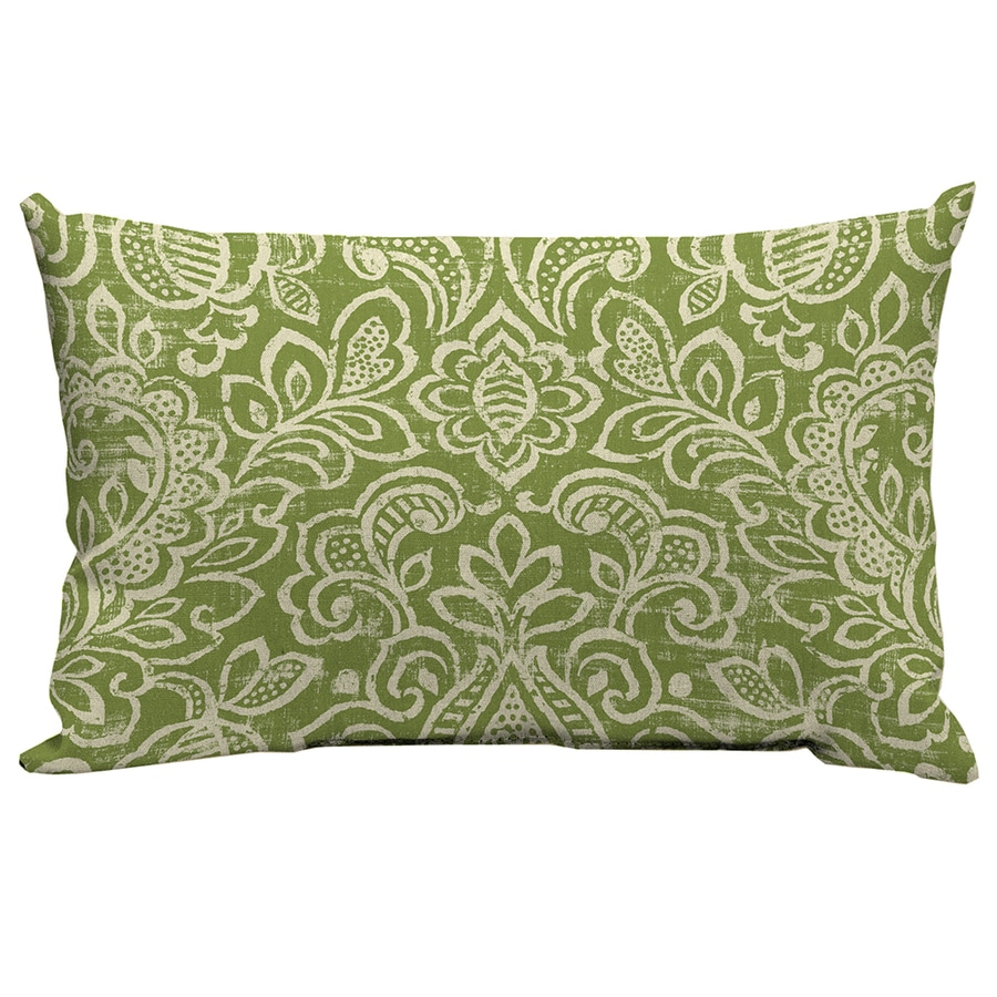 Garden Treasures Green Stencil Paisley Rectangular Lumbar Outdoor Decorative Pillow