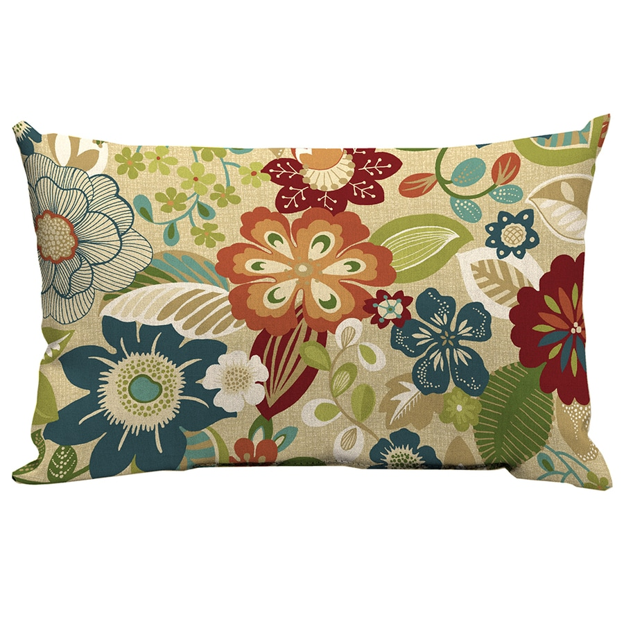 Garden Treasures Bloomery Floral Rectangular Lumbar Outdoor Decorative  Pillow
