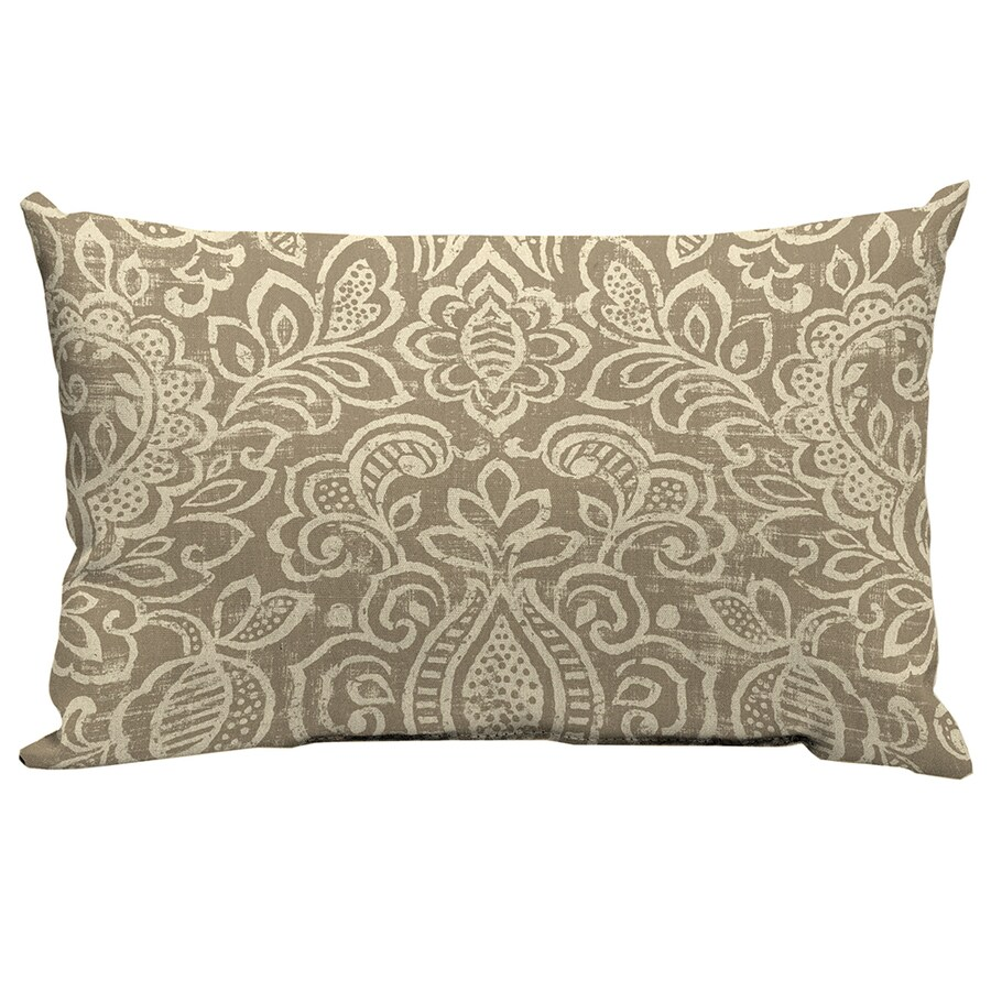 Garden Treasures Neutral Stencil Paisley Rectangular Lumbar Outdoor Decorative Pillow