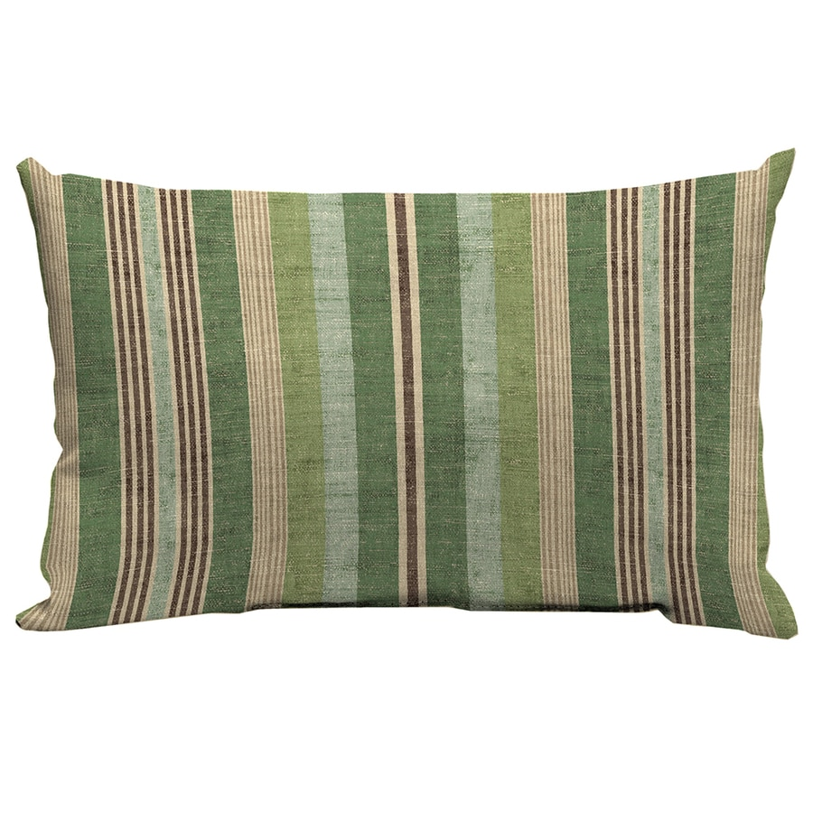 Decorative Lumbar Pillows Green : Shop allen + roth Green and Striped Rectangular Lumbar Pillow Outdoor Decorative Pillow at Lowes.com