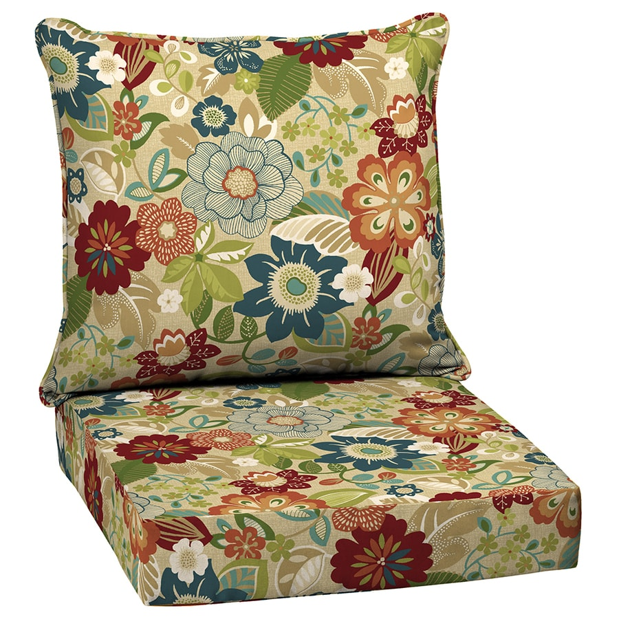 Shop garden treasures bloomery floral cushion for deep - Garden treasures replacement cushions ...