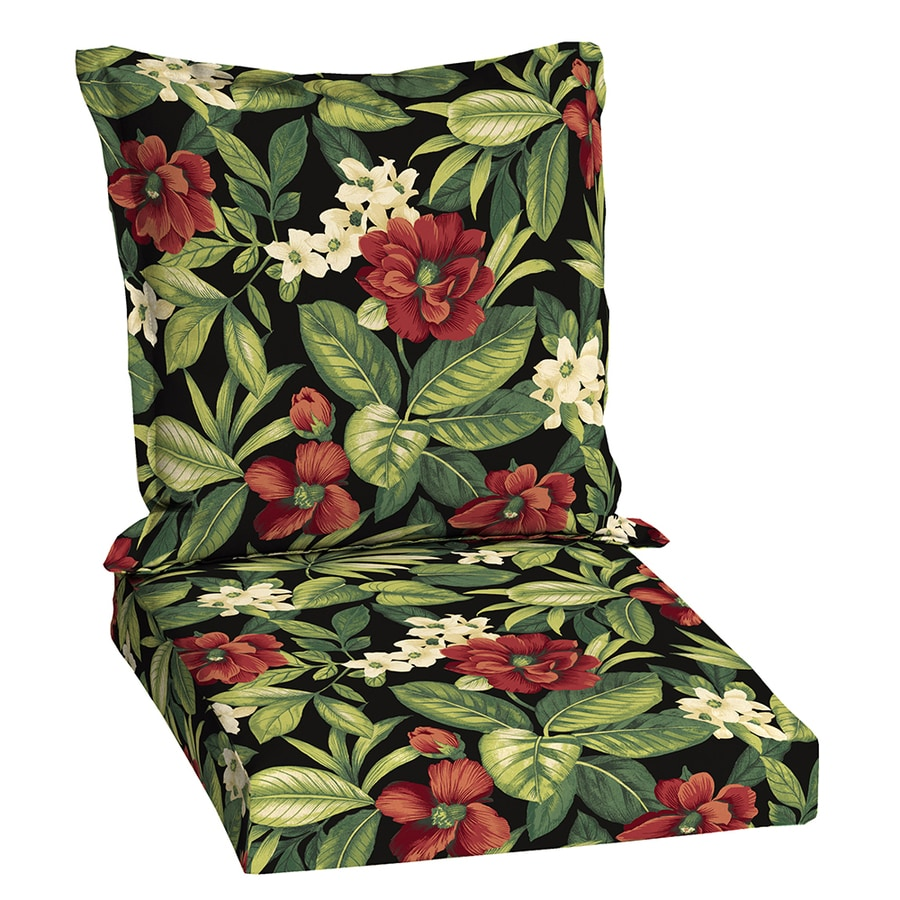 Garden Treasures Sanibel Black Tropical Standard Patio Chair Cushion