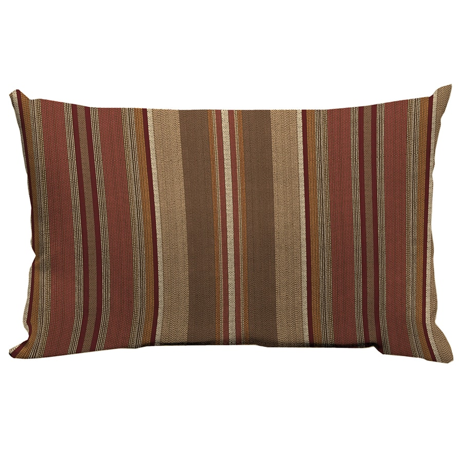 allen + roth Chili and Striped Rectangular Lumbar Pillow Outdoor Decorative Pillow