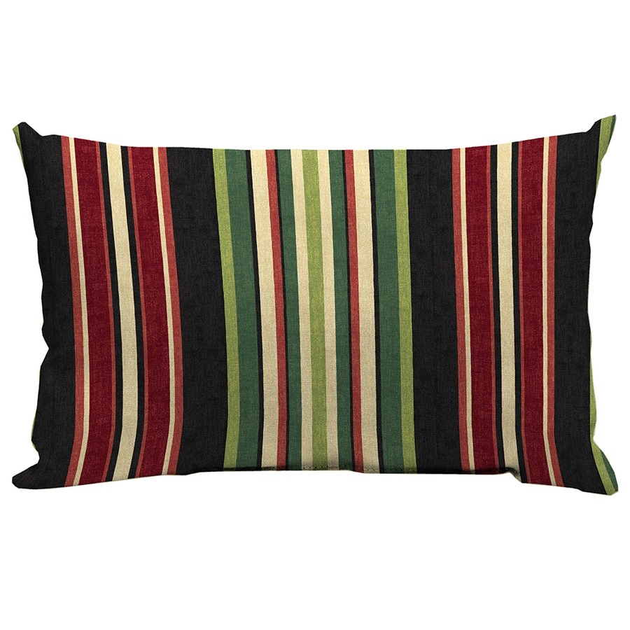 Garden Treasures Sanibel Black Stripe Rectangular Lumbar Outdoor Decorative Pillow