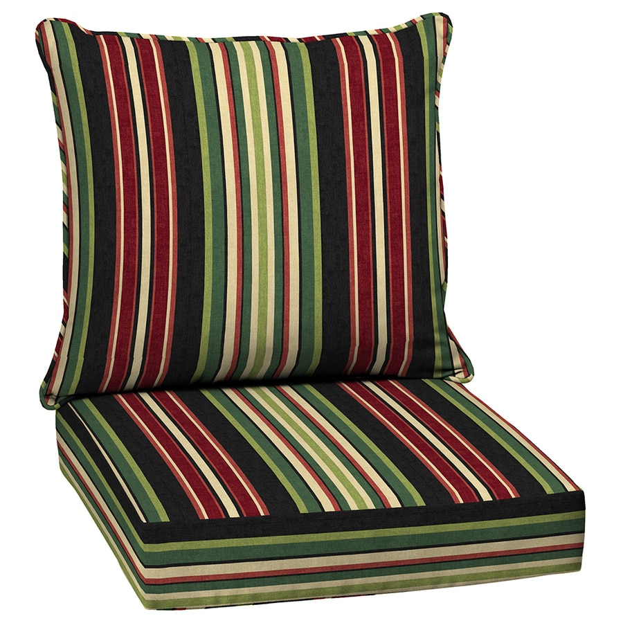 Shop garden treasures 2 piece sanibel stripe deep seat patio chair cushion at - Seat cushions for patio furniture ...