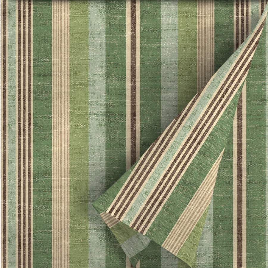 allen + roth 54-in W Green Stripe Outdoor Fabric (By-the-Yard)
