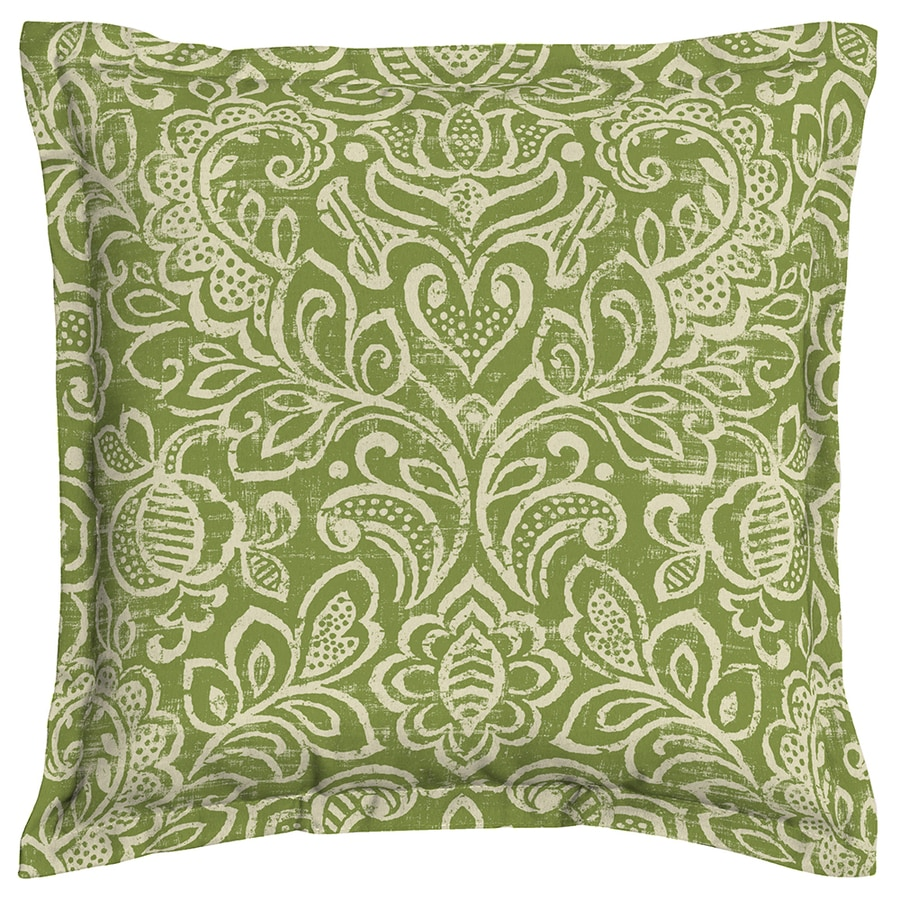 Garden Treasures Green Stencil Paisley Square Throw Outdoor Decorative Pillow