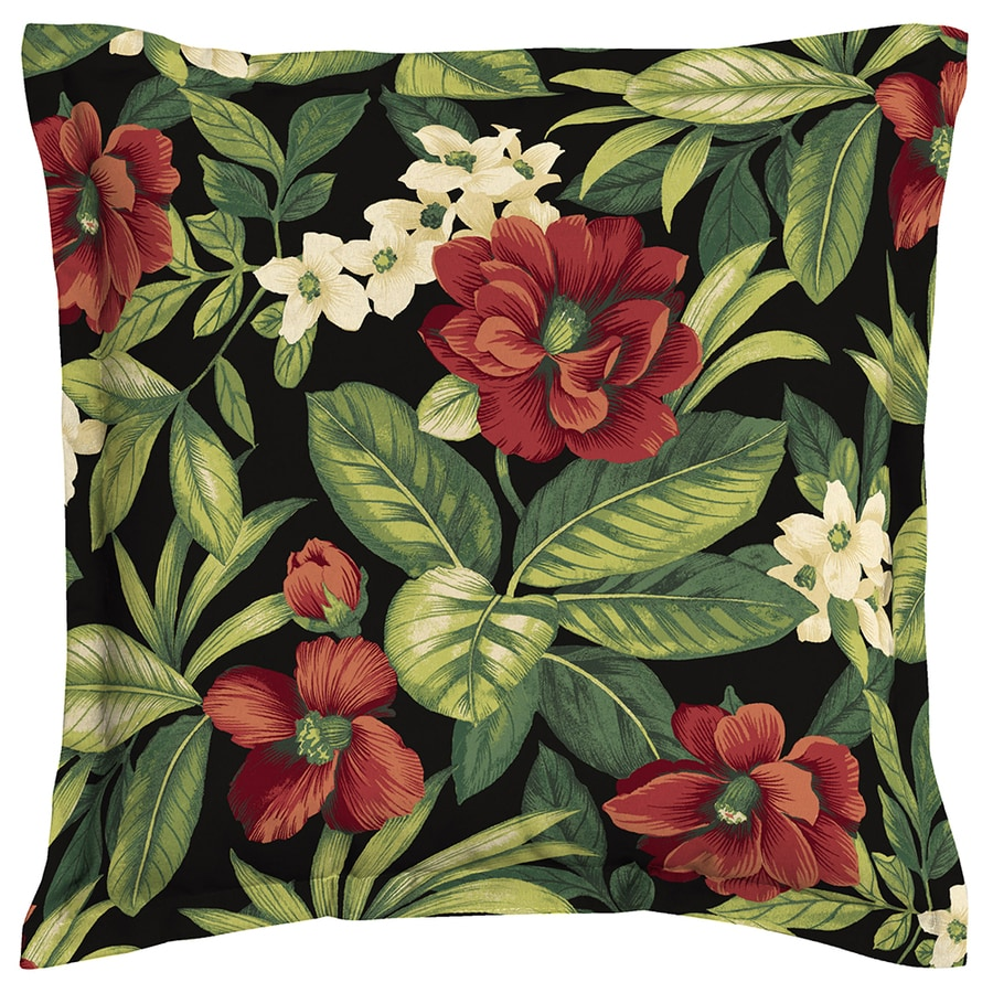 Garden Treasures Sanibel Black Tropical Square Throw Outdoor Decorative Pillow