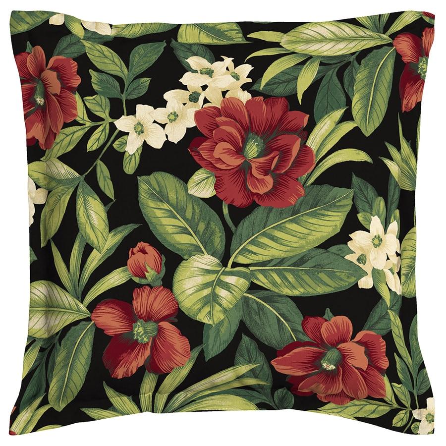 Garden Treasures Sanibel Black and Tropical Square Throw Pillow Outdoor Decorative Pillow