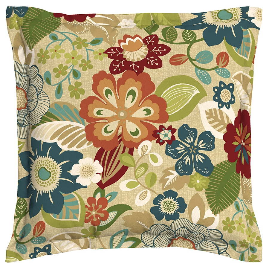 Charming Garden Treasures Bloomery Floral Square Throw Outdoor Decorative Pillow