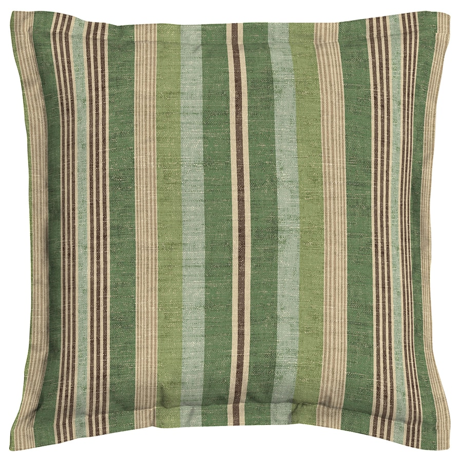 allen + roth Green and Striped Square Throw Pillow Outdoor Decorative Pillow