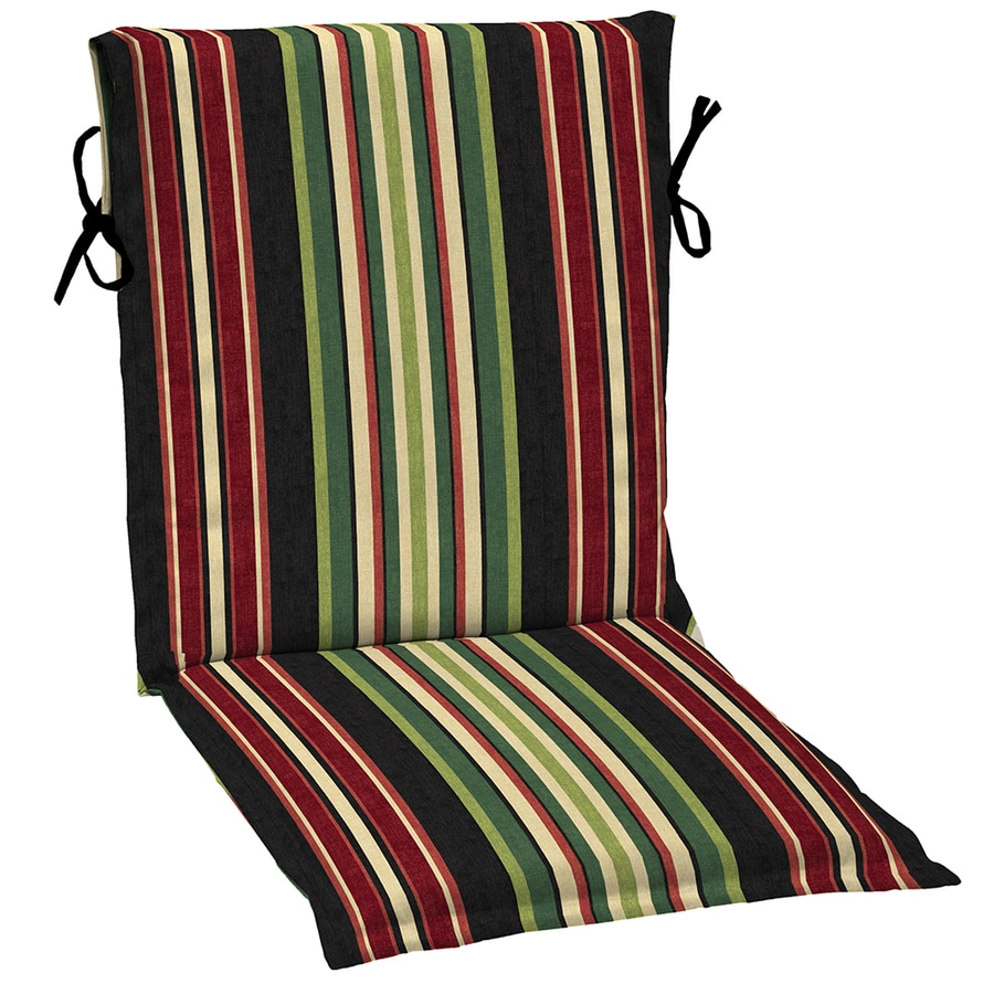 Garden Treasures Sanibel Black Stripe Standard Patio Chair Cushion for Sling Chair