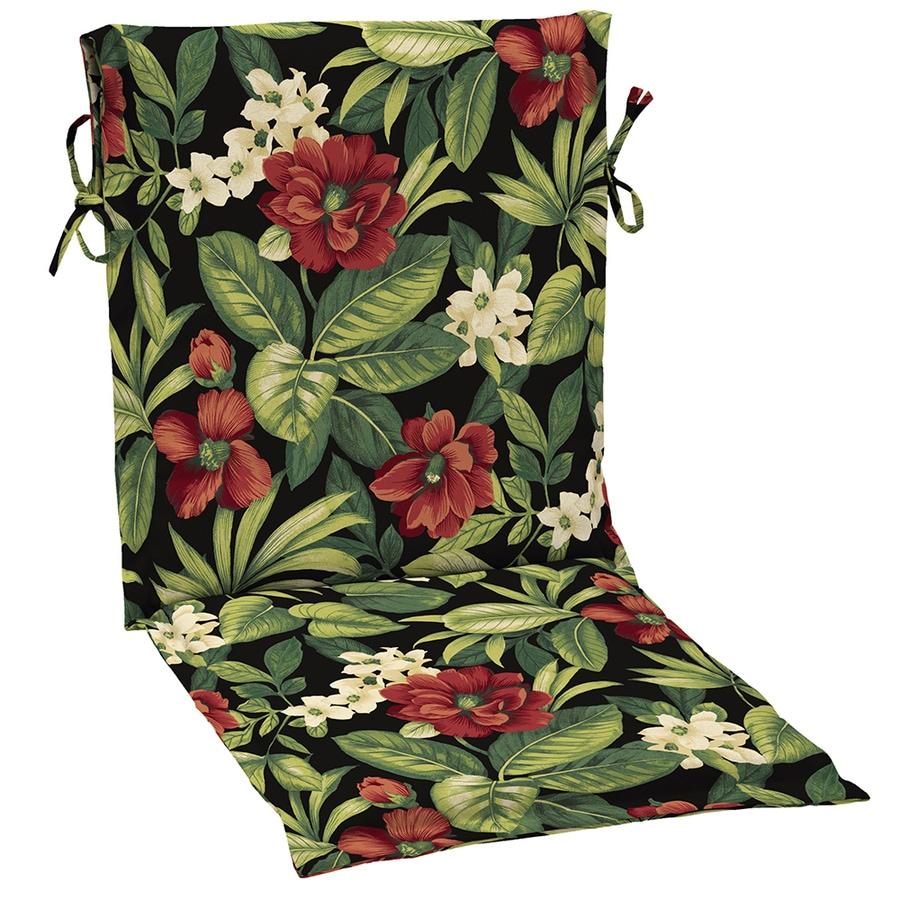 Garden Treasures Sanibel Black Tropical Standard Patio Chair Cushion for Sling Chair