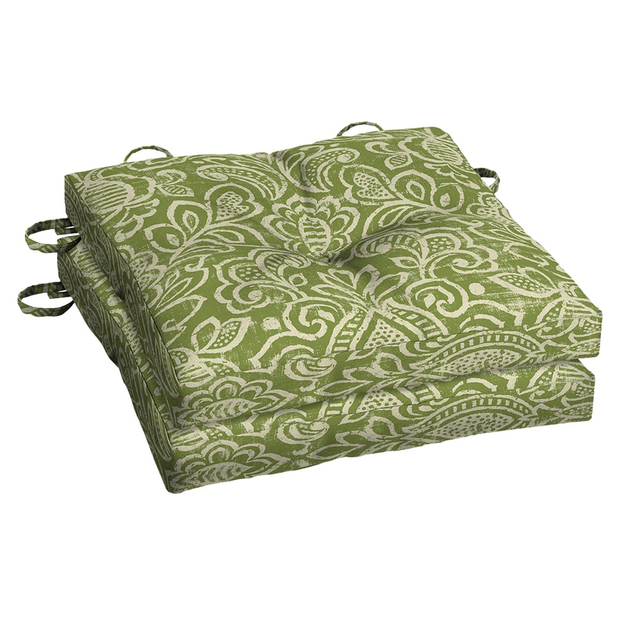 Garden Treasures Green Stencil Paisley Seat Pad For Bistro Chair