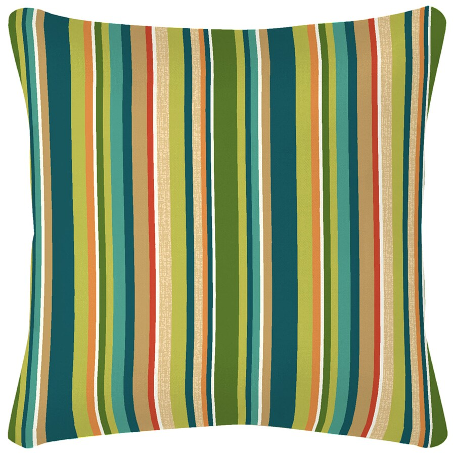 Garden Treasures Bloomery Stripe Square Throw Outdoor Decorative Pillow