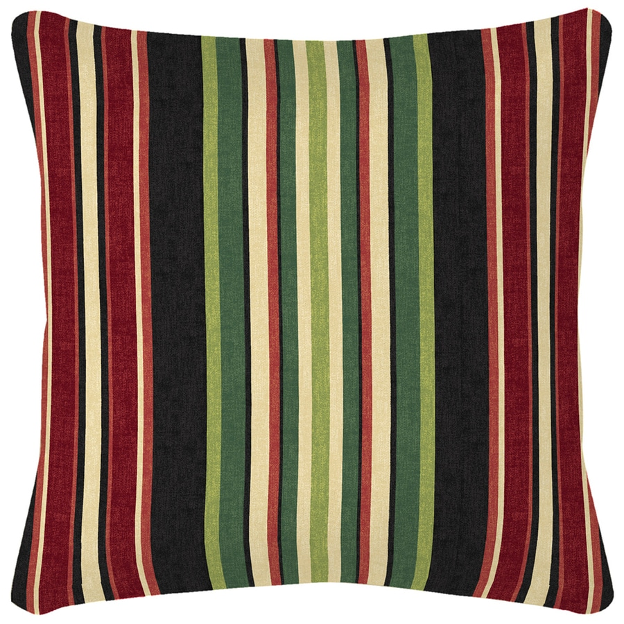 Garden Treasures Sanibel Black and Striped Square Throw Pillow Outdoor Decorative Pillow