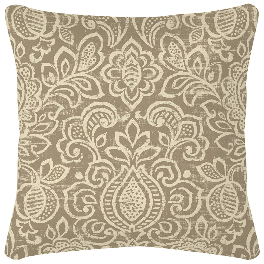 Garden Treasures Neutral Stencil and Paisley Square Throw Pillow Outdoor Decorative Pillow