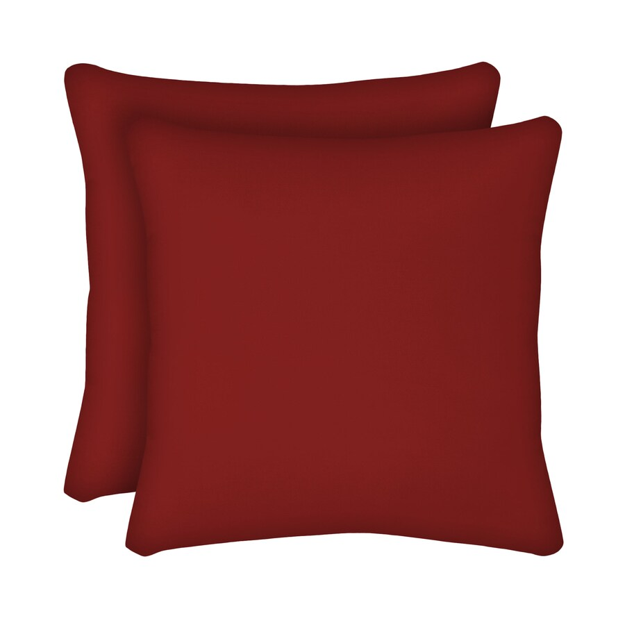 Garden Treasures 2-Pack Red Solid Square Throw Outdoor Decorative Pillow