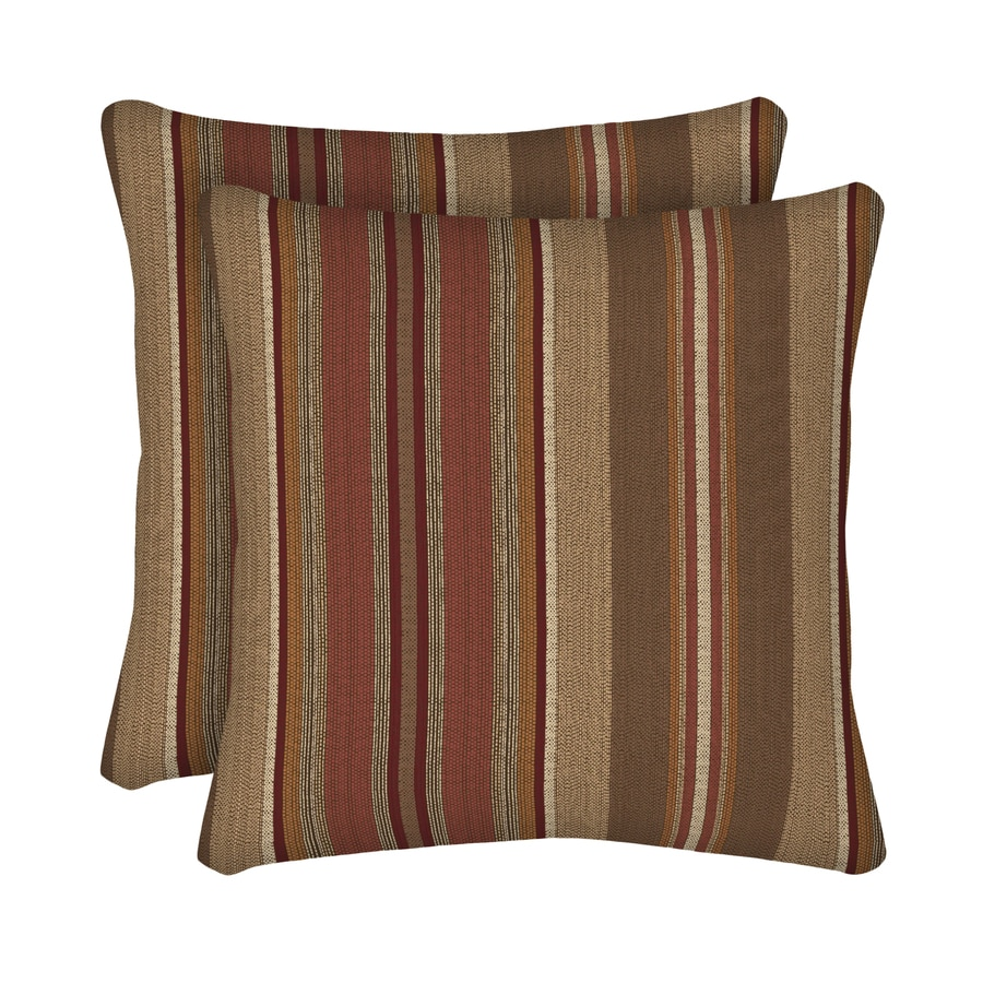 allen + roth 2-Pack Chili and Striped Square Throw Pillow Outdoor Decorative Pillow