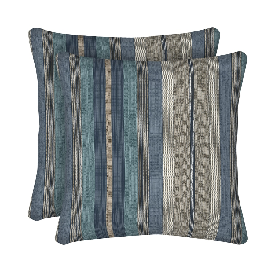 allen + roth 2-Pack Blue and Striped Square Throw Pillow Outdoor Decorative Pillow