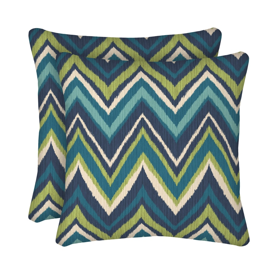 Blue Geometric Throw Pillows : Shop Garden Treasures 2-Pack Blue Flame Stitch and Geometric Square Throw Pillow Outdoor ...