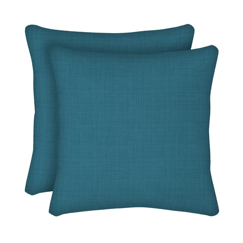 Style Selections 2 Pack Solid Texture Peacock Square Throw Pillow In The Outdoor Decorative Pillows Department At Lowes Com